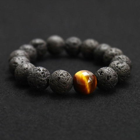 Black Volcanic Lava Stone Tiger Eye 12mm Beaded Bracelet - Unisex-Shop Deal Anchor