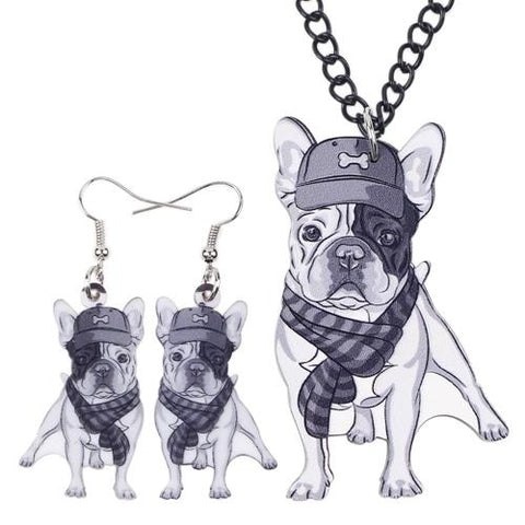 Bonsny French Bulldog Necklace + Earrings Set-Shop Deal Anchor