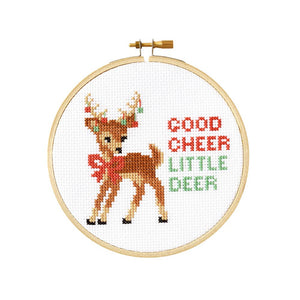 "Good Cheer Little Deer Holiday 5"" Cross Stitch Kit"
