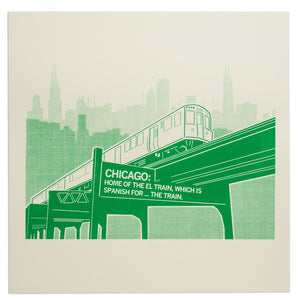 "Chicago El Train 18"" x 18"" Print"