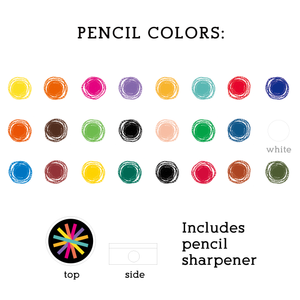 Colored Pencil Set with Sharpener (24 Pencils)