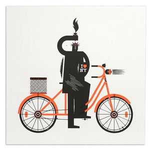 "Lady Liberty on a Bike 18"" x 18"" Print"