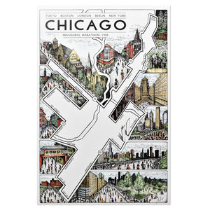 "Chicago Marathon Map 12"" x 18"" Print"