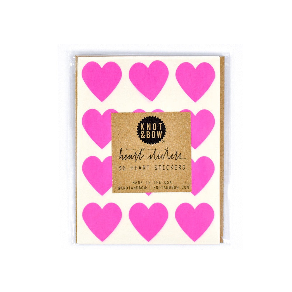 Heart Stickers (36), Neon Pink