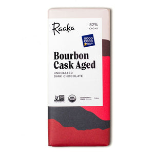 Bourbon Cask Aged Unroasted 82% Cacao Chocolate Bar