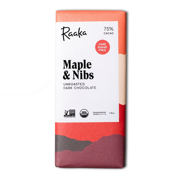 Maple and Nibs Unroasted 75% Cacao Chocolate Bar