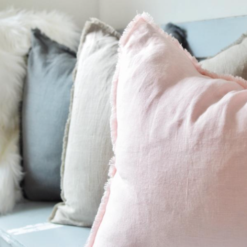 Fringed Linen Pillow Cover
