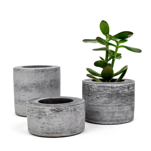 Dark Concrete Round Pots (Set of 3)