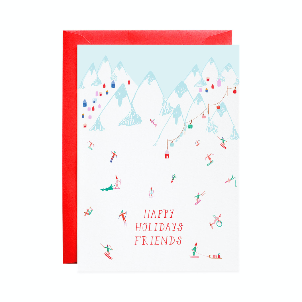 Happy Holidays Friends Ski Slopes Holiday Card