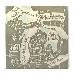 "Michigan Souvenir Map 12"" x 12"" Canvas"