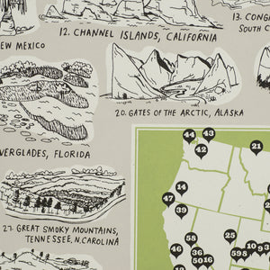 National Parks Map Art Print