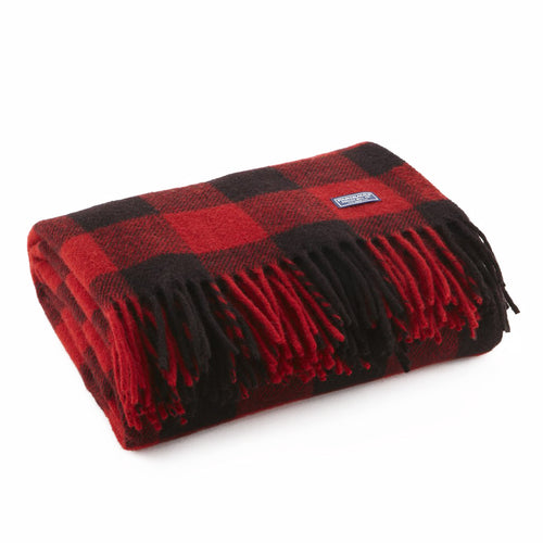 Buffalo Check Plaid Red & Black Wool Throw Blanket