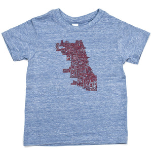 Chicago Neighborhood Map Kids Tshirt