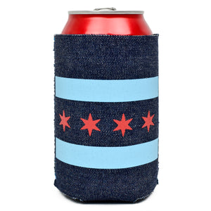 chicago flag can cooler denim material