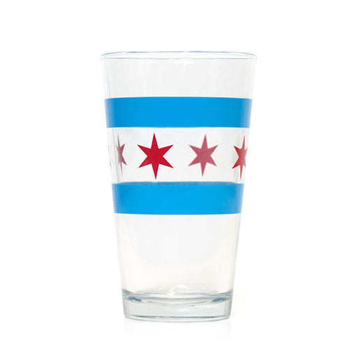 -Chicago Flag Pint Glass