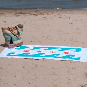 Chicago Flag Waves Beach Towel
