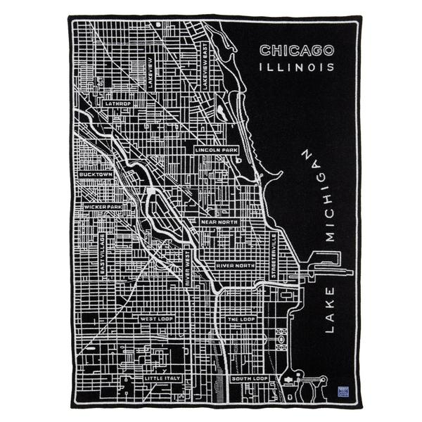 City of Chicago Map Black & White Wool Blend Throw Blanket
