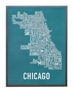 Chicago Typographic Neighborhood Map