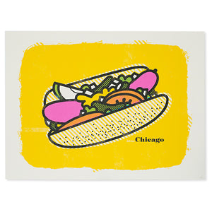 "Chicago Style Hot Dog 24"" x 18"" Screen Print"
