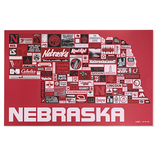 Nebraska Nonstop Screen Print, 18x28
