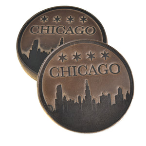 Chicago Skyline Horween Leather Coasters (Set of 4)