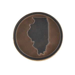 Illinois Outline Horween Leather Coasters (Set of 4)