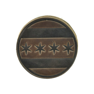 Chicago Flag Horween Leather Coasters (Set of 4)