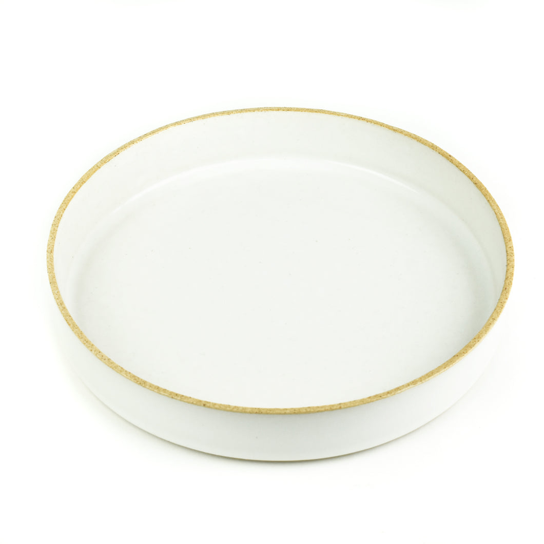 Minimal Off-white and Sand Straight Sided Ceramic Plate or Tray