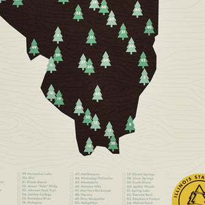 "State Park Checklist Map 11"" x 17"" Poster"