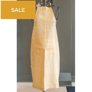 Yellow and White Gingham Linen Apron