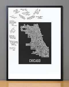 Chicago City Neighborhood Map Framed Guestbook Bundle