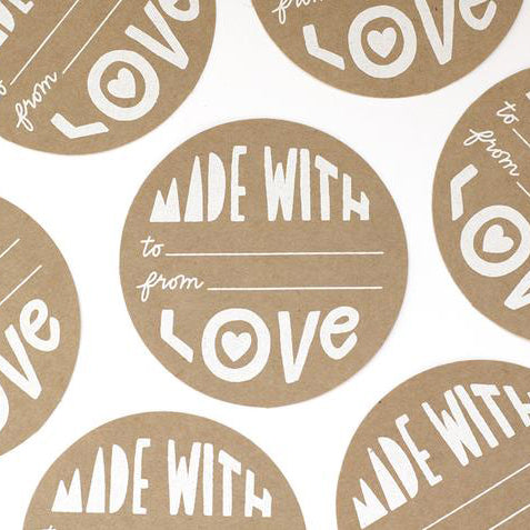 Made With Love Gift Tag Stickers (Set of 10)