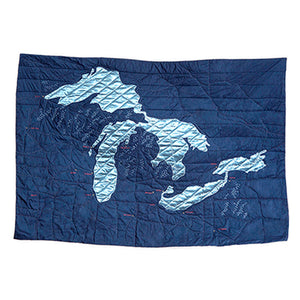 "Great Lakes Map 52"" x 72"" Quilt"