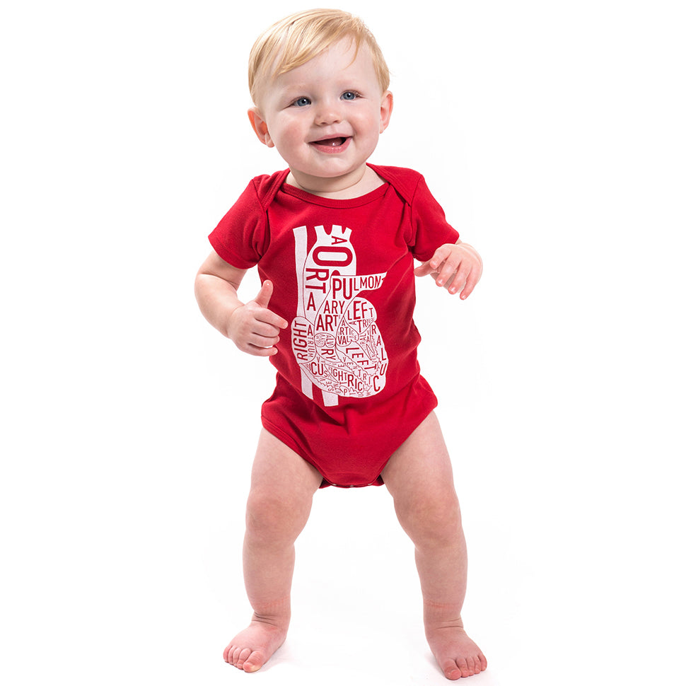 Typographic Heart Baby Onepiece or Toddler Tshirt