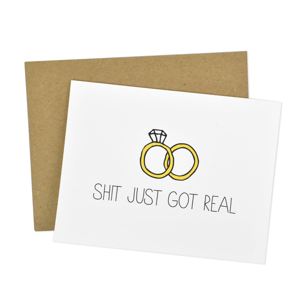 Greeting Card Wedding Engagement M//F Shit just got real Funny V2