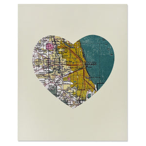 "Chicago Heart Map 8"" x 10"" Wood Block"