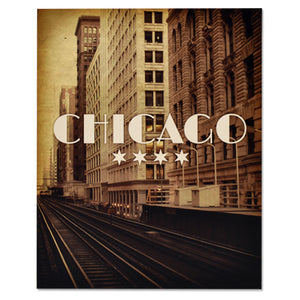 "Chicago Vintage El Train 8"" x 10"" Wood Block"