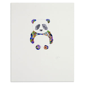 "Floral Panda 8"" x 10"" Illustrated Print"