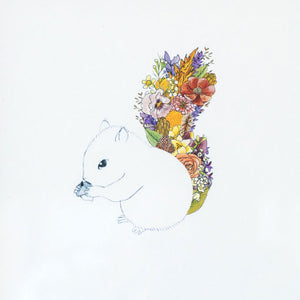 "Floral Squirrel 8"" x 10"" Illustrated Print"