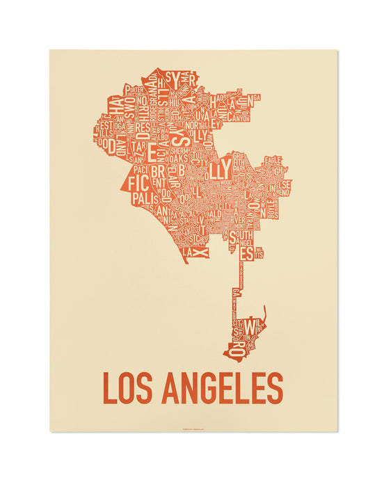 Los Angeles Neighborhood Map Poster