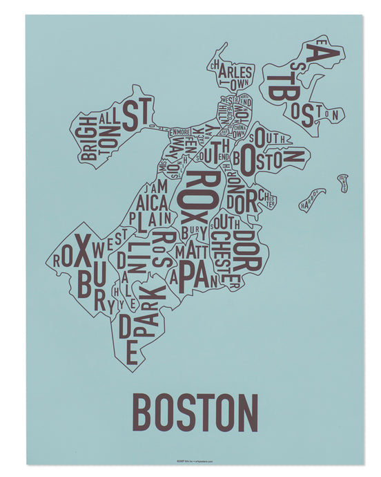 Boston Neighborhood Map Poster