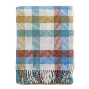 Recycled Wool Check Plaid Throw Blanket
