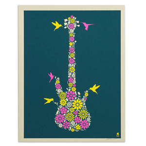 "Flower Bass 11"" x 14"" Screen Print"