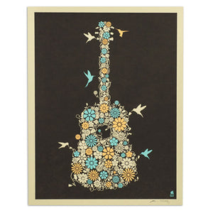 "Flower Guitar 11"" x 14"" Screen Print"
