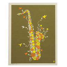 "Flower Saxophone 11"" x 14"" Screen Print"