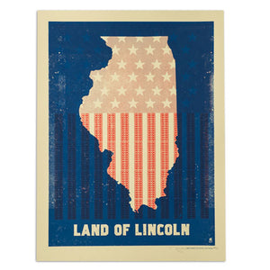 "Land of Lincoln Flag 18"" x 24"" Screen Print"