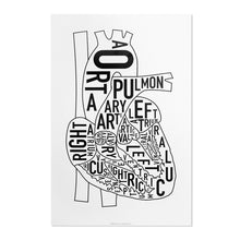 Typographic Anatomical Heart Diagram Print