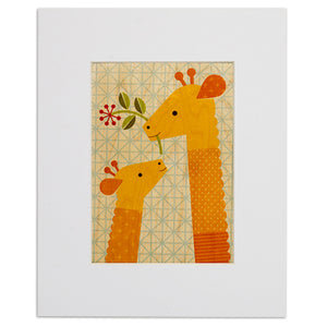 "Giraffe Baby 8"" x 10"" Print on Wood"