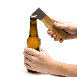Reclaimed Ash Wood and Steel Bottle Opener