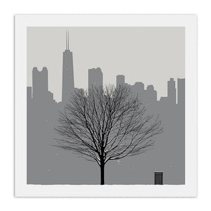 "Chicago Skyline with Winter Tree 23"" x 23"" Screen Print"